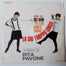 Discos de vinilo: RITA PAVONE - LA SAI TROPPO LUNGA- SPAIN SINGLE 1966.. Lote 229184135