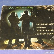Discos de vinilo: EXPROBS1 DISCO 7 PULGADAS ESTADO VINILO ACEPTABLE PETER PAUL AND MARY SOPLANDO AL VIENTO. Lote 229233230
