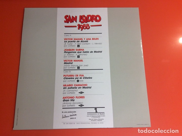 Discos de vinilo: LP VINILO SAN ISIDRO 1988- ANTONIO FLORES-JOAQUÍN SABINA-VÍCTOR MANUEL- ANA BELÉN... - Foto 3 - 224790087
