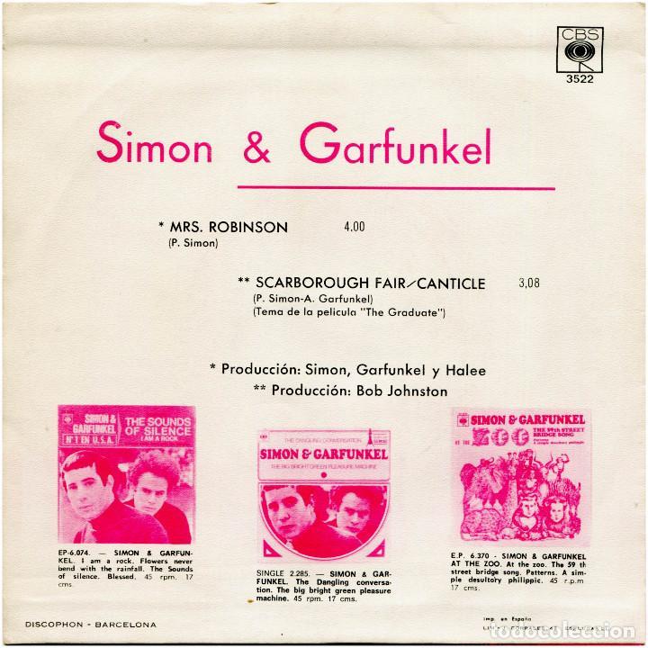 Discos de vinilo: Simon & Garfunkel - Mrs. Robinson - Sg Spain 1968 - CBS 3522 - Foto 2 - 229254910