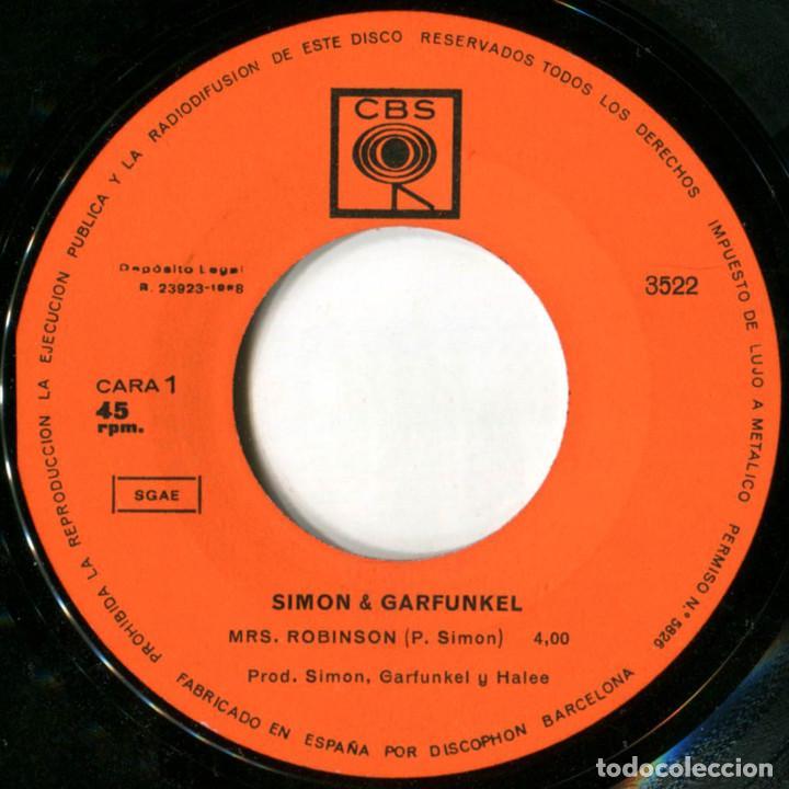 Discos de vinilo: Simon & Garfunkel - Mrs. Robinson - Sg Spain 1968 - CBS 3522 - Foto 3 - 229254910