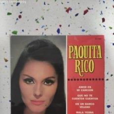 Discos de vinilo: EP PAQUITA RICO AMOR ES MI CANCIÓN. Lote 229256695