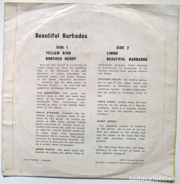 Discos de vinilo: The Merrymen featuring Emile Straker: Beautiful Barbados. Yellow bird/ Britgher Neddy/ Limbo Jamaica - Foto 2 - 229260080