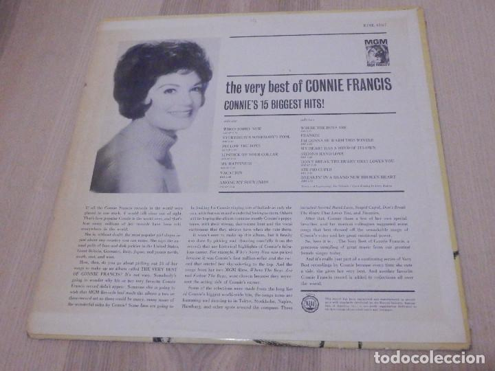 Discos de vinilo: LP - The very best of Connie Francis - 15 éxitos - MGM 1963 - Raro - Foto 2 - 229269330