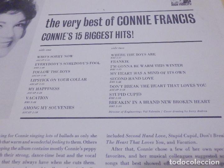 Discos de vinilo: LP - The very best of Connie Francis - 15 éxitos - MGM 1963 - Raro - Foto 3 - 229269330