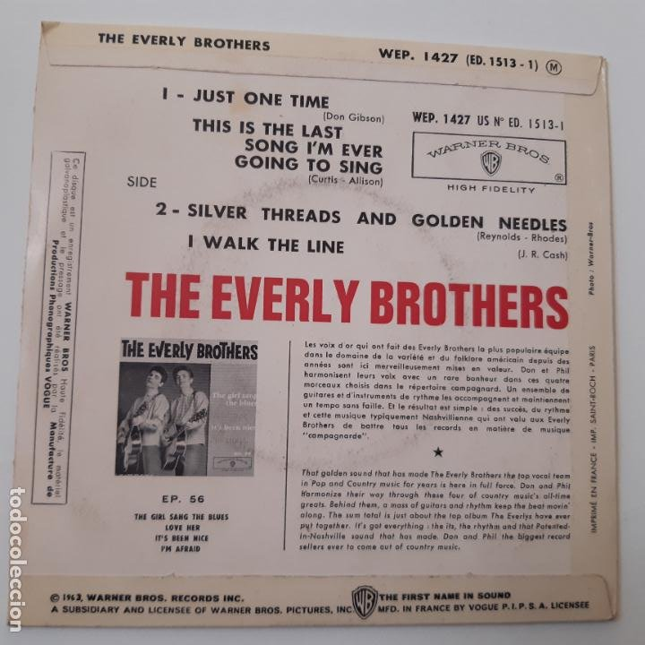 Discos de vinilo: THE EVERLY BROTHERS- JUST ONE TIME - FRANCE EP 1963 + TRICENTRE - VINILO CASI NUEVO. - Foto 2 - 229309593