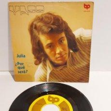 Discos de vinilo: YAGO / JULIA - ¿ POR QUÉ SERÁ ? / SINGLE - BP-1972 / MBC. ***/***. Lote 229421495