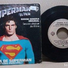Disques de vinyle: SUPERMAN - EL FILM / BANDA SONORA ORIGINAL TEMA DE SUPERMAN / SINGLE 7 INCH. Lote 229560825
