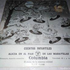 Discos de vinil: CUENTOS INFANTILES ALICIA EN EL PAÍS DE LAS MARAVILLAS-ORIGINAL AÑOS 50. Lote 229612030