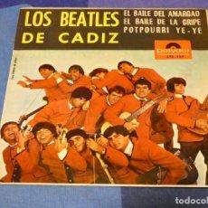 Discos de vinilo: EXPROBS2 DISCO 7 PULGADAS ESTADO VINILO BASTANTE USO LOS BEATLES DE CADIZ EL BAILE DEL AMARGAO. Lote 229651585