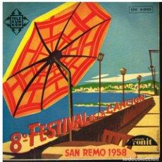 Disques de vinyle: 8° FESTIVAL DE LA CANCION - SAN REMO 1958 - EP 1958. Lote 229813435