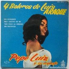 Discos de vinilo: PEPE LUIZ Y SU ORQUESTA. 4 BOLEROS DE LUIS ARAQUE: UN ROMANCE/ MUY DENTRO DE MI/ FLECHAZO/ TAN SOLO. Lote 229919675