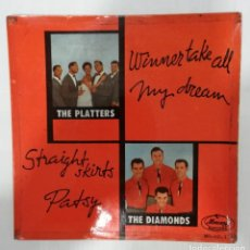 Discos de vinilo: THE PLATTERS / THE DIAMONDS. PLATTERS: WINNER TAKE ALL / DREAMS DIAMONDS: STRAIGHT SKIRTS / PATSY. Lote 229963980