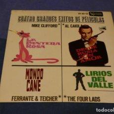 Discos de vinilo: EXPROBS0 DISCO 7 PULGADAS 4 GRANDES EXITOS DE PELICULAS PANTERA ROSA JAMES BOND. Lote 230000955