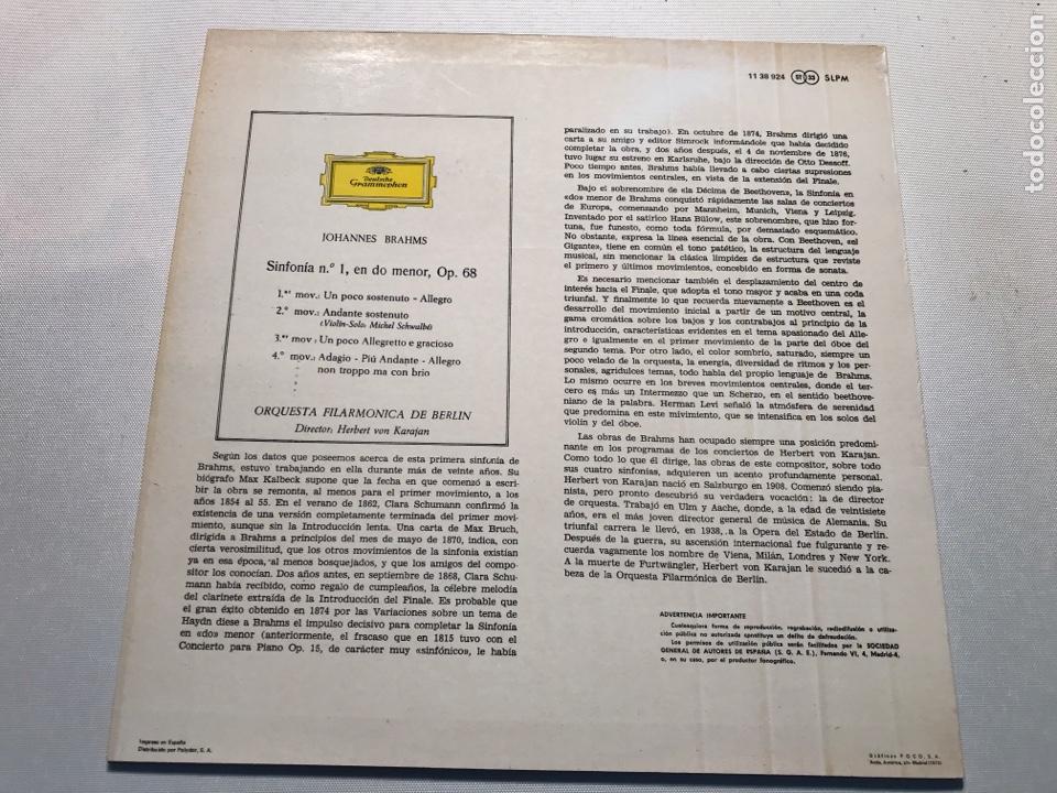 Discos de vinilo: vinilo herbert von karajan brahms symphony Nr1 - Foto 2 - 230035545