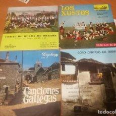 Dischi in vinile: 4 SINGLES CANCIONES GALICIA FOLK, LOS XUSTOS, CORAL DE RUADA, CORO CANTIGAS A TERRA.... BUEN ESTADO. Lote 230121810