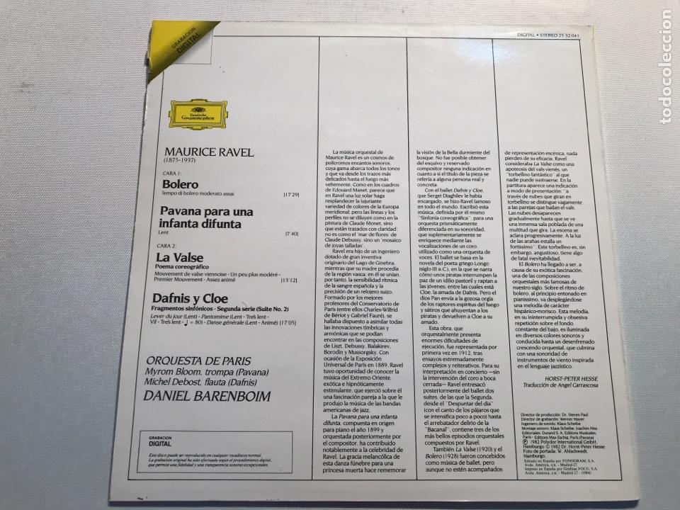 Discos de vinilo: Ravel -Bolero La valse Pavane pour une infante defunte - Foto 2 - 230220270