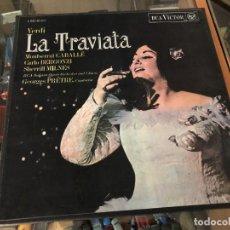Discos de vinilo: CAJA 3 DISCOS CON LIBRETO OPERA LA TRAVIATA DE VERDI / M CABALLE/ C BERGONZI EDITA RCA ESPAÑA. Lote 230220645