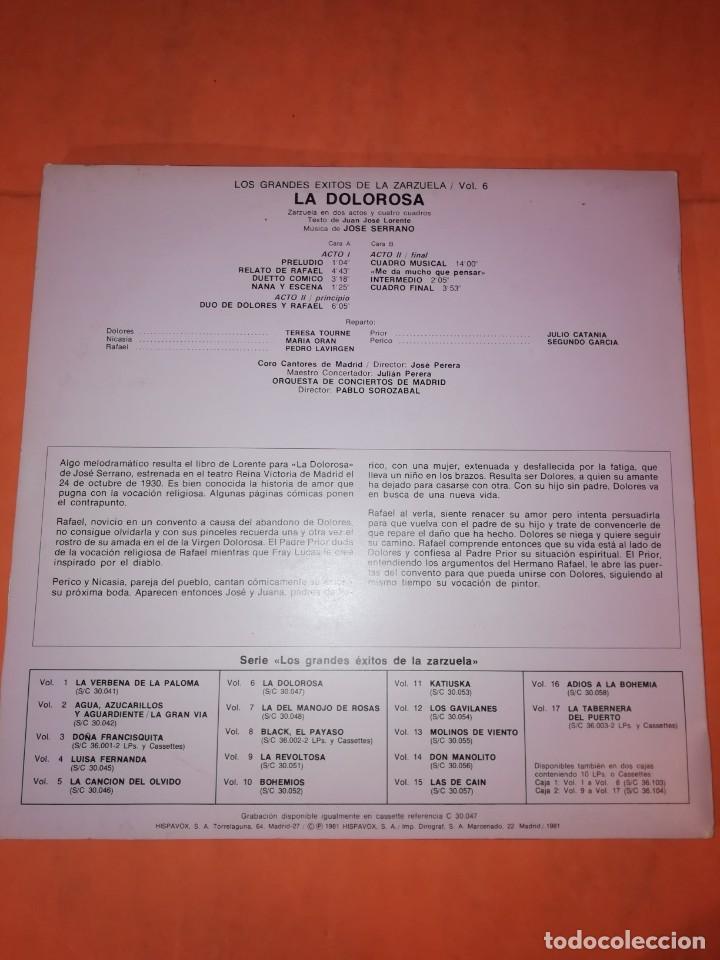 Discos de vinilo: LOS GRANDES EXITOS DE LA ZARZUELA. VOL. 6. LA DOLOROSA . JOSE SERRANO. HISPAVOX 1981 - Foto 2 - 230232715