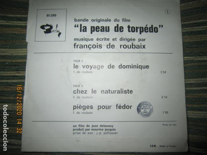 Discos de vinilo: LA PEAU DE TORPEDO EP - B.S.O. - ORIGINAL FRANCES - PROMOCIONAL - BARCLAY 1970 - STEREO - - Foto 8 - 230390065