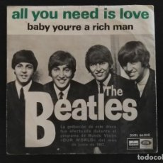 Discos de vinilo: THE BEATLES - ALL YOU NEED IS LOVE - BABY YOU´RE A RICH MAN -ODEON 1967 ETI. AZUL MARINO MADE SPAIN. Lote 230529425