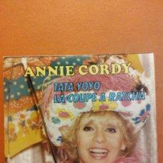 Disques de vinyle: SINGLE. ANNIE CORDY. TATA YOYO. LA COUPE A RATCHA. CBS. Lote 230546015