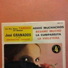 Disques de vinyle: SINGLE. JOSE GRANADOS ET SON ORCHESTRE TYPIQUE. TANGOS. TRIANON. Lote 230550425