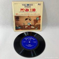 Discos de vinilo: SINGLE Y LIBRO PINOCHO CON LAS CANCIONES DE LA PELÍCULA CANTADAS EN CASTELLANO -- WALT DISNEY --. Lote 230570670