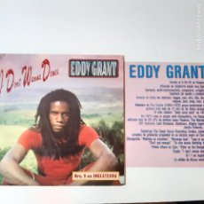 Discos de vinil: EDDY GRANT- I DON´T WANNA DANCE- SPAIN PROMO SINGLE 1982 + NOTA DE PRENSA- VINILO COMO NUEVO.. Lote 230824035