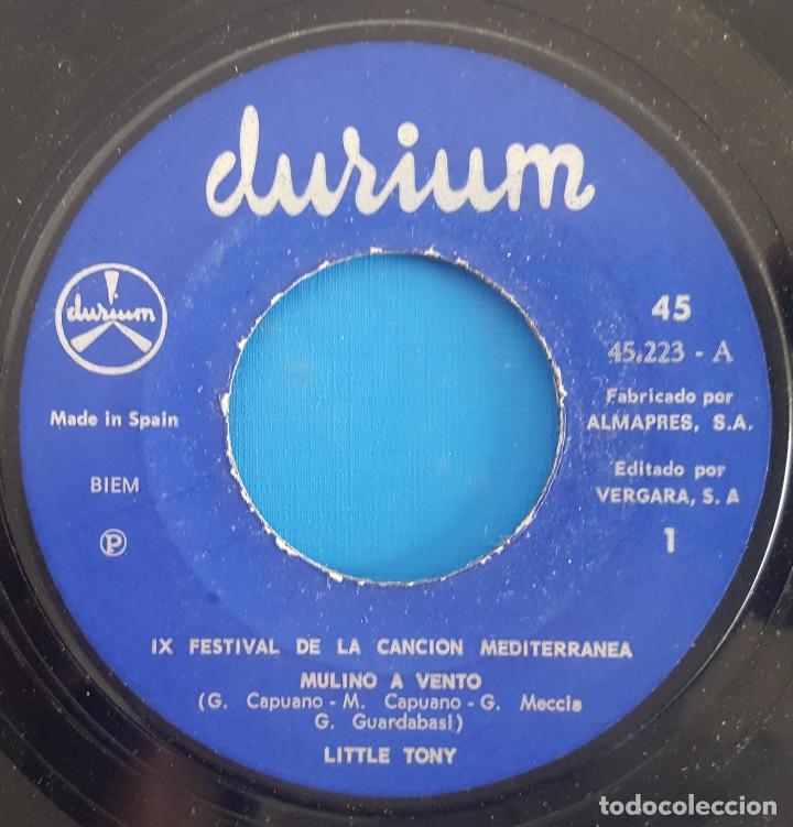 Discos de vinilo: SINGLE / LITTLE TONY / MULINO A VENTO / DURIUM-VERGARA 1967 - Foto 3 - 231009265