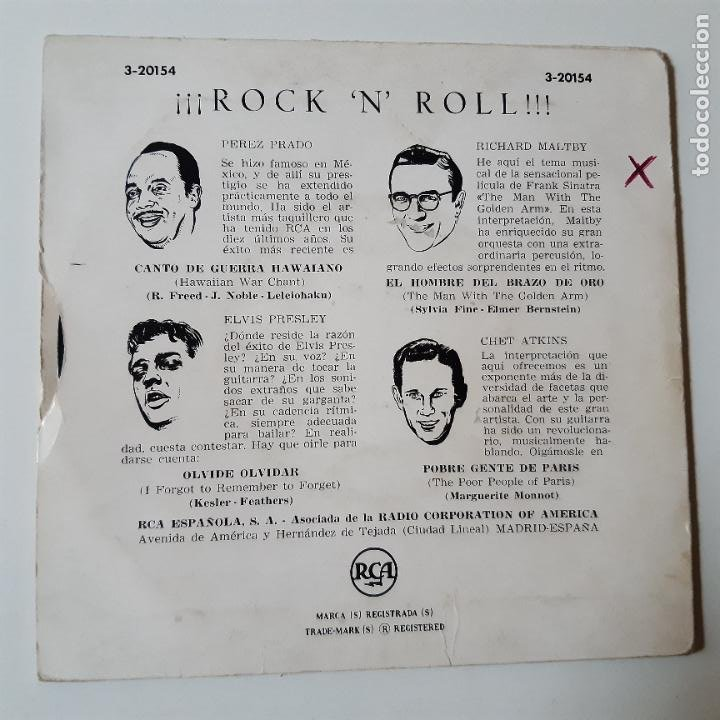 Discos de vinilo: ELVIS PRESLEY- CHET ATKINS - ROCK AND ROLL- SPAIN EP 1956. - Foto 2 - 231032410