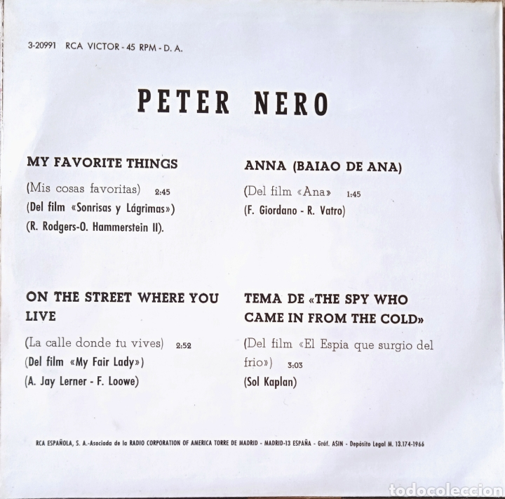Discos de vinilo: EP Peter Nero - Foto 2 - 231058635