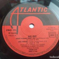 Discos de vinilo: AC/DC - EP PROMO FRANCÉS - BABY PLEASE DON'T GO / JAIL BREAK / SOUL STRIPPER - ATLANTIC. Lote 231137495