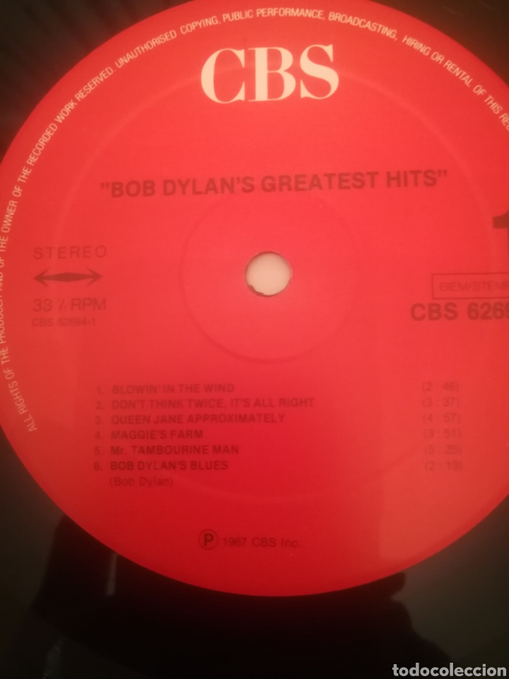 Discos de vinilo: Bob Dylan.Bob Dylans Greatest Hits.Grandes Exitos.CBS 62 694. Printed In Holland.Nuevo. - Foto 5 - 231252050