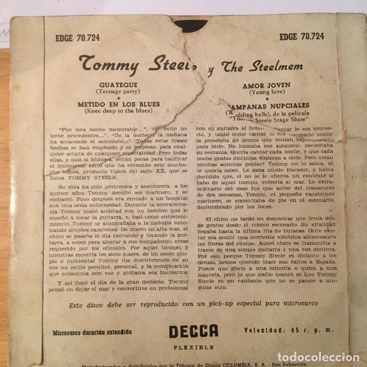 Discos de vinilo: Tommy Steele. EP 4 temas. vinilo. Buen estado. ver fotos - Foto 2 - 231253120