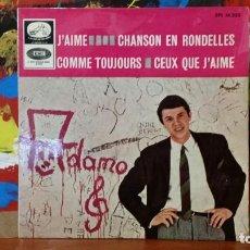 Discos de vinilo: ** ADAMO - J'AIME + 3 - EP AÑO 1965 - PROMOCIÓN - LEER DESCRIPCIÓN. Lote 231526115