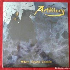 Discos de vinilo: ARTILLERY - WHEN DEATH COMES. LP VINILO. NUEVO. PRECINTADO. VINILO COLOR AMARILLO.. Lote 231563145