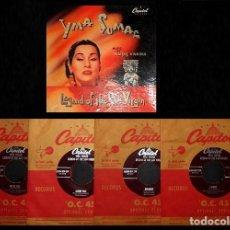 Discos de vinilo: YMA SUMAC. SOPRANO. PERU. MAISES VIVANCO. LEGEND OF THE SUN VIRGIN. CAPITOL. [CAJA CON 4 SINGLES].. Lote 231707975