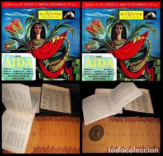 IDEAL COLECCIONISTAS. VERDI. AIDA. COMPLETA [2 CAJAS+ESTUCHE CONTENEDOR+20 DISCOS SINGLES+LIBRETOS]. (Música - Discos - Singles Vinilo - Clásica, Ópera, Zarzuela y Marchas)