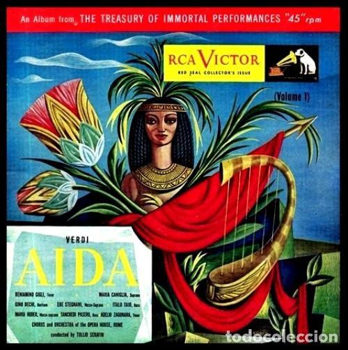 Discos de vinilo: IDEAL COLECCIONISTAS. VERDI. AIDA. COMPLETA [2 CAJAS+ESTUCHE CONTENEDOR+20 DISCOS SINGLES+LIBRETOS]. - Foto 3 - 231763035