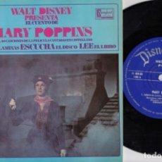 Dischi in vinile: MARY POPPINS - EP CON LAS CANCIONES DE LA PELICULA CANTADAS EN CASTELLANO + EL CUENTO - WALT DISNEY. Lote 231824250