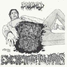 Discos de vinilo: EXHUMED - EXCRETING INNARDS - 7'' [AFTER WORLD RECORDS, 2019 · #146/500] GRINDCORE DEATH METAL. Lote 232037310
