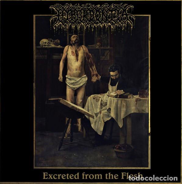 HYPERDONTIA - EXCRETED FROM THE FLESH - 7'' [ME SACO UN OJO, 2020 · GOLD BLACK SPLATTER ED.] DEATH (Música - Discos de Vinilo - EPs - Heavy - Metal)