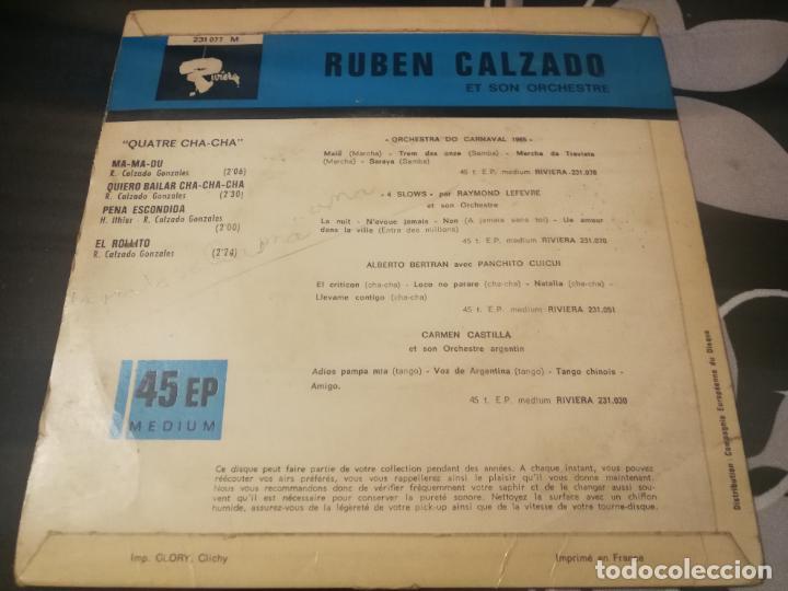 Discos de vinilo: RUBÉN CALZADO Y SU ORQUESTA 4 CHA-CHA. MA-MA-DU, QUIERO BALILAR CHA-CHA, PENA ESCONDIDA EL ROLLITO - Foto 2 - 232207365