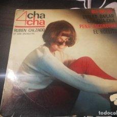 Discos de vinilo: RUBÉN CALZADO Y SU ORQUESTA 4 CHA-CHA. MA-MA-DU, QUIERO BALILAR CHA-CHA, PENA ESCONDIDA EL ROLLITO. Lote 232207365