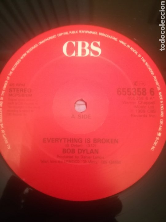 Discos de vinilo: Bob Dylan.Everything Is Broken.Dead Man Dead Man.I Want You.UK 1989.CBS 655358 6.45RPM. - Foto 5 - 232758210