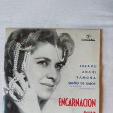 Discos de vinilo: ENCARNACIÓN RUÍZ. JURAME. ANAHI. RAMONA. SUEÑO DE AMOR- EP 1963..COLUMBIA. Lote 232782028