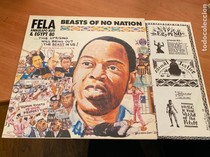 FELA ANIKULAPO KUTI & EGYPT 80 (BEASTS OF NO NATION) LP AFROBEAT 1989 (B-17) (Música - Discos - LP Vinilo - Funk, Soul y Black Music)