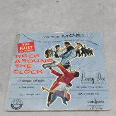 Discos de vinilo: BILL HALEY AND HIS COMETS. ROCK AROUND THE CLOCK. EP SPAIN. RARO CUBIERTA AZUL. LENNY DEE (ÓRGANO). Lote 233157630