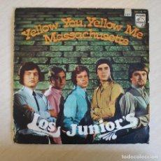 Discos de vinilo: LOS JUNIOR'S - YELLOW YOU, YELLOW ME / MASSACHUSETTS - DIFICIL SINGLE DEL AÑO 1967 VINILO COMO NUEVO. Lote 233202780